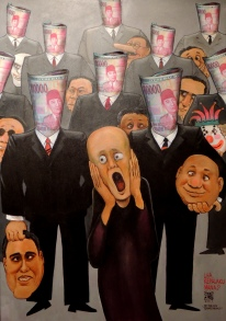 Lha kepalaku di mana? GM Sudarta. Sudarta's view on morally degrading corruption with the main subject resembling Edward Munch's painting The Scream.