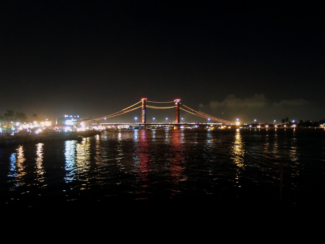 A night view over Ampera Bridge, Palembang
