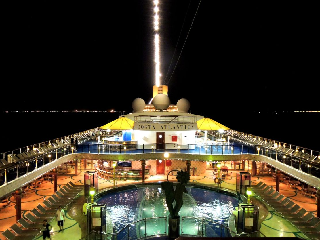 Costa Atlantica deck at night