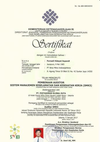 Sertifikat Auditor SMK3 Purnadi Hidayat Supandi