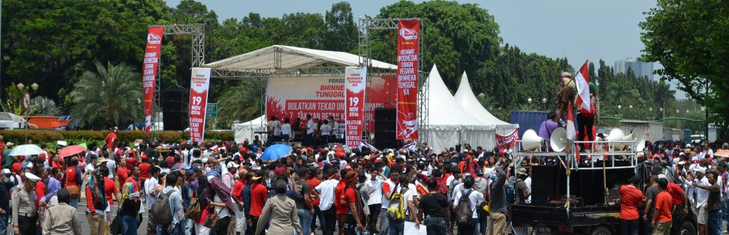 A giant stage erected at the center of the mass rally that calls for national unity.