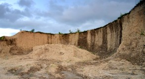 A crater at a deserted sand quarry