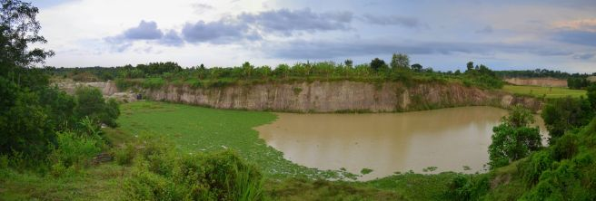 Panorama of a deserted sand quarry
